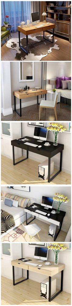 home office computer desk with 2 drawers U- shaped metal legs, also a good idea for student study desk - very lower price - on sale now