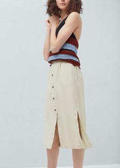 Falda lino bolsillos | MANGO