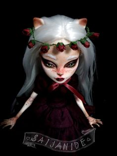 custom monster high doll repaint ooak cat girl reroot by Saijanide