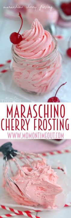 Maraschino Cherry Frosting ~ Don't let the juice from your maraschino cherry jar go to waste. Make this deliciously gorgeous Maraschino Cherry Frosting instead! Perfect on cupcakes, cookies, cake and more! Cupcake Recipes, Cupcake Cakes, Dessert Recipes, Icing Recipes, Cake Icing, Homemade Frosting Recipes, Marshmallow Frosting Recipes, Wedding Cake Frosting, Kid Cakes