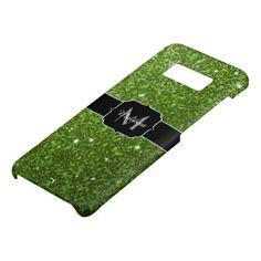 Beautiful Greenery Green glitter sparkles Monogram Case-Mate Samsung Galaxy S8 Case - glitter gifts personalize gift ideas unique