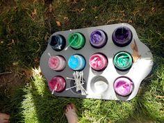Paint in baby jars & cupcake pan. Perfecto!