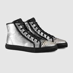 c4c9dc8824d Gucci Women - Gucci California Silver Metallic studded high-top sneakers  Gucci Fashion
