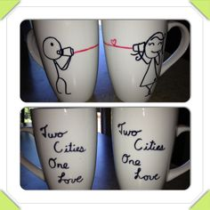 Matching mugs for long distance relationship