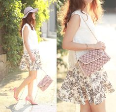 Front Row Shop Crochet Hem Lace Vest, Missoni Raffia Hazel Bag, Front Row Shop Floral Skirt, Prada Bow Heels