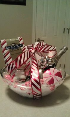 Ideas for making a chocolate gift basket miscellaneous its just the photo but you get the idea diy gift basketppermint bark with welches sparkling white grape juice negle Image collections