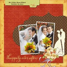 Happily Ever After Wedding Romantic Autumn Digital Scrapbooking Layout from Creative Memories