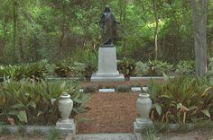 "bronze statue of robed Jesus in Oakwood Cemetery, Huntsville Texas  - copy of Bertel Thorvaldsen's ""Resurrected Christ"" in Copenhagen Cathedral (I'm glad it looks like this now. When I lived in Huntsville, this was all overgrown.) photo by Alexey Sergeev"