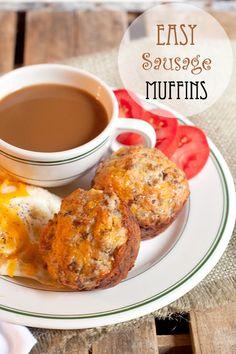 Easy Sausage Muffins via Lana's Cooking. 4 ingredients to breakfast!