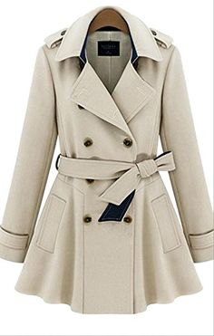 Enlishop Women's Winter Elegant Double Breasted Belt Long Trench Coat Blue * Check out this great product @ http://www.amazon.com/gp/product/B014UMV6AG/?tag=clothing8888-20&pqr=290716020143