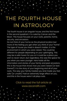 How your upbringing shaped your security and sense of home, foundation of private life, the nurturing parent Learn Astrology, Tarot Astrology, Astrology And Horoscopes, Astrology Numerology, Astrology Chart, Astrology Zodiac, Astrology Signs, Pisces Horoscope, Capricorn Facts