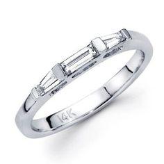 Diamond Wedding Ring 14k White Gold Band Bar Tapered Baguette, Size 5.  List Price: $1,655.00  Savings: $934.00 (56%)