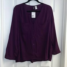 Purple Long Sleeve Button Blouse Purple Eggplant Long Sleeve Button-down Blouse with buttons on sleeves to fold up Divided by H&M Divided Tops Blouses