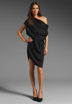 HALSTON HERITAGE  One Shoulder Micro Satin Dress (too expensive for me, but beautiful...)
