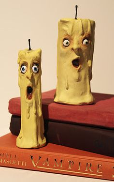 """Terrified Taper and Petrified PillarScuplted in Paperclay, each about 6"""" tall"""