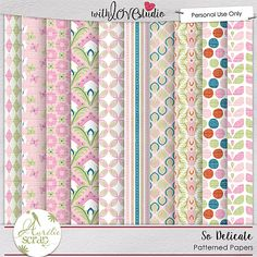 So Delicate digital scrapbooking pattern papers by Aurelie Scrap. The SO delicate kit is full of girly colors and is perfect to document everyday moments of your little princess or your everyday life. The paste colors of the kit will give a soft and feminine look to your layouts.
