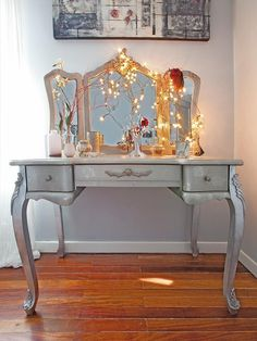 Wouldn't paint silver but the lights and mirrors are gorgeous. Will be doing mine in white.
