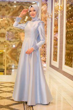Tuay - Omuzları Boncuk Detaylı Tafta Bebek Mavisi Tesettür Abiye Elbise 1780BM