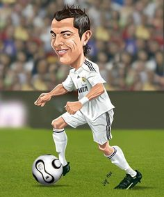 Cristiano Ronaldo of Real Madrid wallpaper. Fotos Real Madrid, Cristiano Ronaldo Quotes, Real Madrid Wallpapers, Sports Painting, Funny Caricatures, Football Wallpaper, Cartoon Faces, Sports Stars, Sports Humor