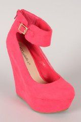 Pink Lemonade Ankle Strap Round Toe Platform Wedge
