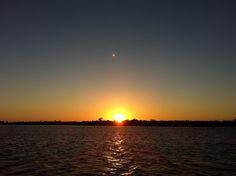 Sun Rising & Moon Setting, Santiva, Mangroves, Heading Out Of Castaways Marina, Sanibel & Captiva Islands, Sanibel & Captiva Charters & Fishing Guide Service.