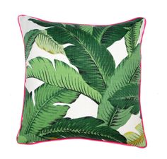 Large custom-made pillow in an iconic tropical banana leaf print fabric. Pillow back is a oyster white Belgian linen fabric. Pillow is accented with coordinati… Outdoor Pillow Covers, Outdoor Cushions, Outdoor Fabric, Indoor Outdoor, Tropical Home Decor, Tropical Houses, Throw Pillow Cases, Throw Pillows, Accent Pillows