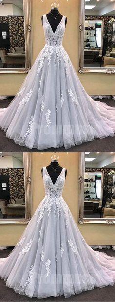 Elegant V Neck Tulle Applique Formal Inexpensive Long Prom Dresses, PM0794 #promdress #promdresses