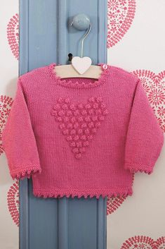 Baby Knitting Patterns Sweter Girls Bobble Heart Jumper Knitting Pattern - The Knitting Network Baby Knitting Patterns, Jumper Knitting Pattern, Baby Girl Patterns, Jumper Patterns, Knitting For Kids, Free Knitting, Knitted Baby Beanies, Baby Girl Sweaters, Baby Jumper
