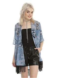 """A kimono fit for a day on the beach with your favorite alien, Stitch! This powder blue kimono features an allover tonal floral Stitch print with black fringes along the hem.<div><ul><li style=""""list-style-position: inside !important; list-style-type: disc !important"""">100% polyester</li><li style=""""list-style-position: inside !important; list-style-type: disc !important"""">Wash cold; dry low</li><li style=""""list-style-position: inside !important; list-style-type: disc !important"""">Imported</li><li…"""