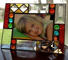Handmade geometric stained glass picture frame by AmberglassStudio