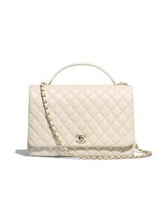 Flap bag with top handle, lambskin & gold-tone metal-ivory - CHANEL