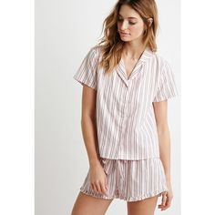 Forever 21 Striped Cotton Shirt PJ Set ($20) ❤ liked on Polyvore featuring intimates, sleepwear, pajamas, striped pajamas, cotton pjs, forever 21 pjs, woven boxers and cotton pajamas