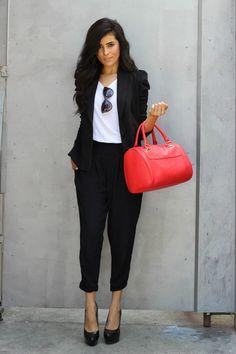 "Tee Nordstrom Shirts, Knitted Three Dots Blazers, Hinged Satchel Express Bags   ""Modern Girl Business Suit"" by SazanBarzani"