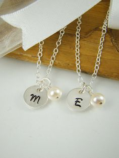 Bridesmaids Initial Pearl Necklaces, Wedding Jewelry, Sterling Silver BM019