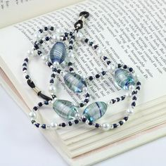 Eyeglass Holder Lanyard White Pearl Royal by AbacusBeadCreations, $20.00