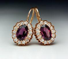 300993600a9 Antique Russian Almandine Diamond Cluster Earrings (Russian Federation