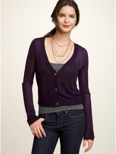 cropped cardigan: closed, low cut, tee under with necklace(s).
