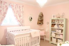 baby girl nursery updates Nursery Themes, Nursery Room, Girl Nursery, Chic Nursery, Nursery Ideas, Diy Blackout Curtains, How To Make Curtains, Painted Cottage, Room Tour