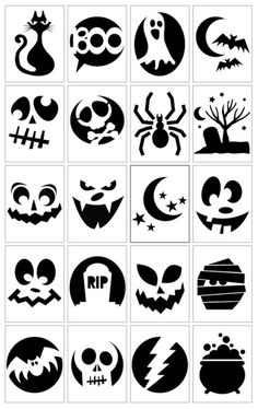 Still got that pumpkin to carve? Try one of these simple but spooky pumpkin carving templates from Vivint. The hardest part of this will be choosing which one to use! I bet you could also adapt the… Printable Halloween, Theme Halloween, Halloween Scrapbook, Holidays Halloween, Halloween Pumpkins, Halloween Diy, Happy Halloween, Halloween Decorations, Halloween Templates
