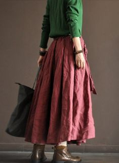Linen Irregular Long Skirt Dark Pink Women Clothing por deboy2000