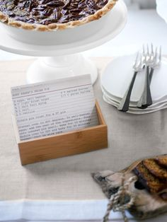 Cute Idea! Save our index-card JPEG (click for JPEG); then paste it into Microsoft Word and type the recipe in a text box atop the image. Print out multiple copies of each recipe on card stock; cut out and stack the cards in wooden boxes near their corresponding dishes.