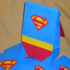 superman party bag- I bet this idea could turn into a princess dress too.