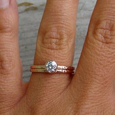 Delicate Moissanite and Recycled 14k Rose Gold Engagement Ring and Wedding Band Set, Stackable, Affordable, Eco-Friendly.