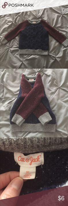 Boys sweater 2T Cat &Jack 2T boys sweater! Colors grey, burgundy and navy blue. Worn twice and in excellent condition! Thick, good quality sweater!💙 smoke free home! Cat & Jack Sweaters Crew & Scoop Necks