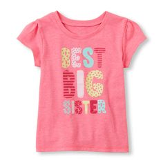 Toddler Girls Short Sleeve 'Best Big Sister' Graphic Tee