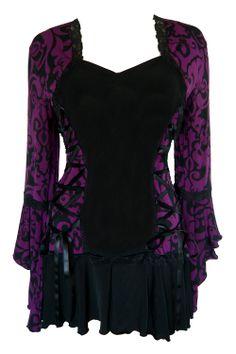 Gothic and Victorian inspired plus size Bolero corset top in Blackberry Brocade
