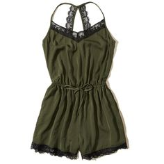 Hollister Lace-Trim Satin Romper (€37) ❤ liked on Polyvore featuring jumpsuits, rompers, dresses, romper, olive, satin romper, army green romper, satin rompers, olive green rompers and v neck romper