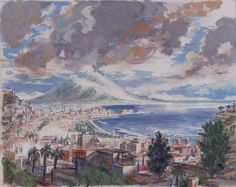 Bay of Naples; View from Megellina; Tempera on paper lined on canva; Philippe Casanova 2017