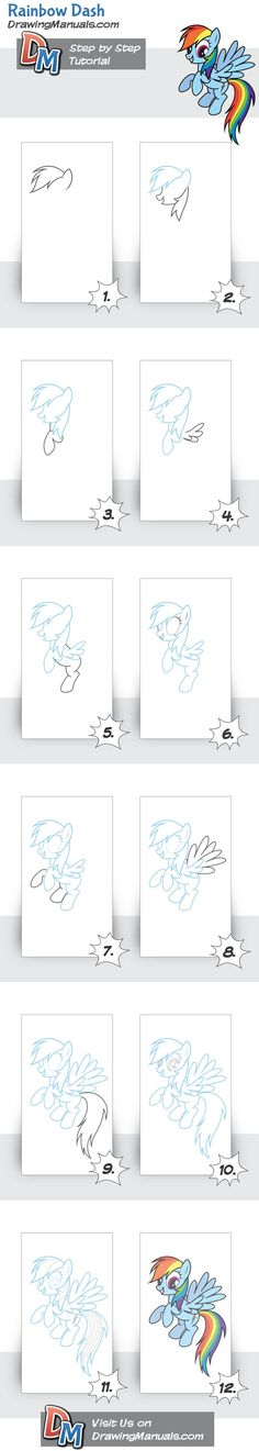 Rainbow Dash- My Little Pony step-by-step drawing tutorial for kids  http://drawingmanuals.com/manual/rainbow-dash-my-little-pony/