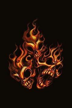 burning skull on fire animated gif image Fire Animation, Flame Art, Biker Quotes, Skeleton Art, Skull Wallpaper, Amazing Street Art, Fire And Ice, Military Art, Skull Art